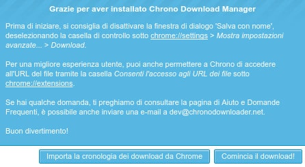 Chrono Download Manager - Finestra di avvio