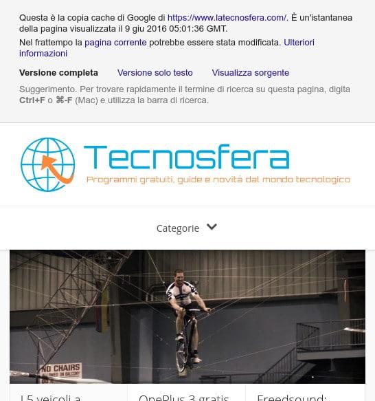 Copia cache homepage Tecnosfera