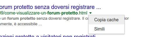 Copia cache nei risultati di Google