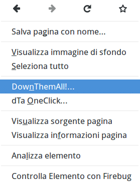 DownThemAll - Menu contestuale