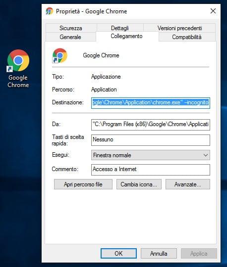 Chrome - Impedire il salvataggio della cronologia