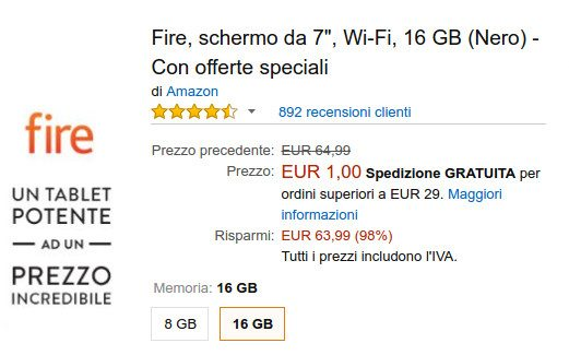 Kindle Fire in offerta a 1 euro