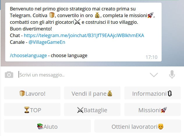 Village Game per Telegram - Messaggio di bevenuto