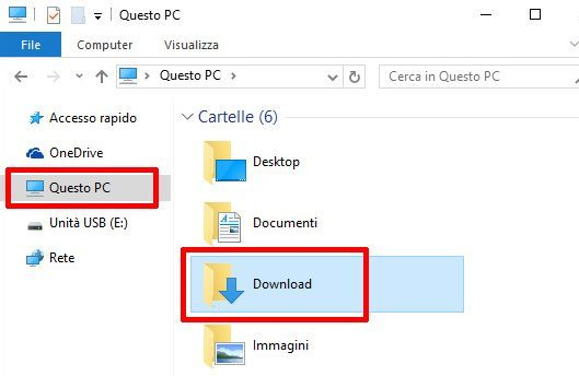 Windows 10 - Esplora File - Entrare nella cartella Download