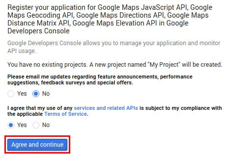 Google Maps APIs - Agree with the terms