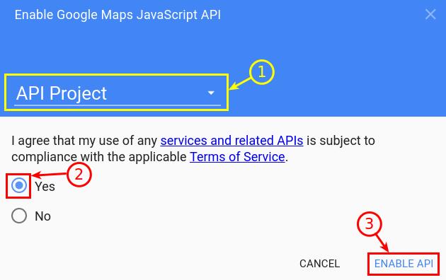 Google Maps API - Enable javascript API