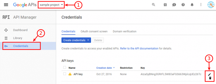 Google Maps API - Manage the API keys