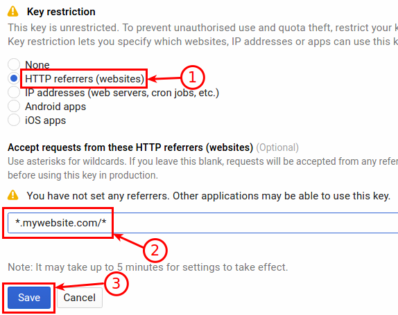 Google Maps API - Restrict the key usage