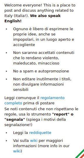 Reddit - Regolamento canale Italia