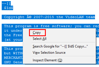 Vlc is unable to open the mrl - Copy file content