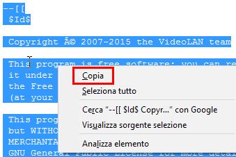 Vlc non è in grado di aprire il mrl - Copiare il contenuto del file