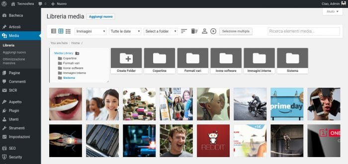 Organizzare media in cartelle su WordPress